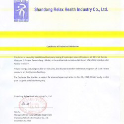 Certificate of Exclusive Distributor